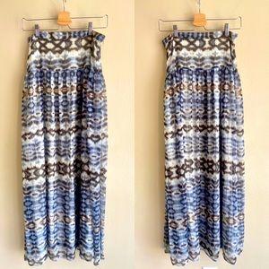 ✖️[BOSTON PROPER] Blue Mixed Print Maxi Skirt